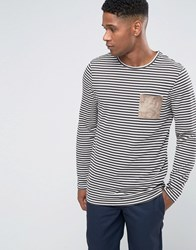 Asos Stripe Longline Long Sleeve T Shirt With Suede Look Pocket White Black Cream