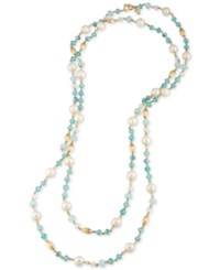 Carolee Gold Tone Imitation Pearl And Blue Beaded Long Length Necklace