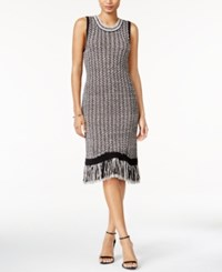 Bar Iii Fringe Sweater Dress Only At Macy's Black Combo