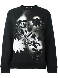 Christopher Kane Sprayed Flower Print Sweatshirt Black