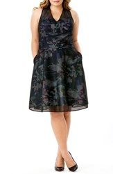 Mynt Plus Size Women's 1792 Mesh Overlay Floral Fit And Flare Dress Floral Black