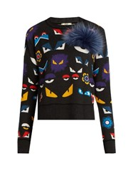 Fendi Wonders Eye Fox Fur And Wool Sweater Black Print