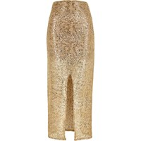 River Island Womens Gold Sequin Split Front Maxi Skirt