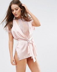 Asos Lace Wrap Satin And Lace Mini Robe Oyster Beige