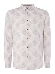 Linea Men's Lille Tonal Rose Cloud Print Shirt Grey