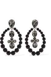 Oscar De La Renta Silver Tone Bead And Crystal Clip Earrings Black