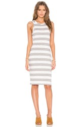 Bobi Slub Stripe Scoop Neck Tank Mini Dress Gray