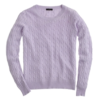 J.Crew Cambridge Cable Crewneck Sweater Hthr Lilac