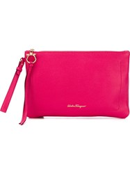 Salvatore Ferragamo Zipped Clutch Pink And Purple