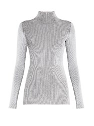 Proenza Schouler High Neck Ribbed Knit Sweater White Black
