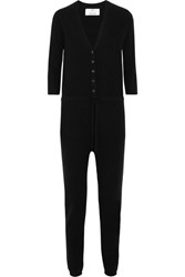 Allude Wool And Cashmere Blend Jumpsuit Black