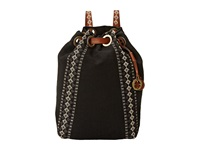 Lucky Brand Grenada Washed Linen Drawstring Backpack Black Backpack Bags