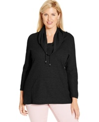 Style And Co. Sport Plus Size Cowl Neck Thermal Hoodie Only At Macy's