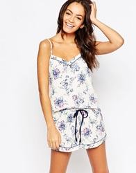 New Look Printed Cami And Short Pyjama Set Bluepattern