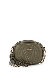 Valentino By Mario Valentino Nina Leather Crossbody Clutch Army Green