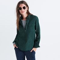 Madewell Flannel Zip Front Popover Shirt Gallery Green