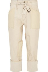 Isabel Marant Vega Stretch Canvas Tapered Pants Nude