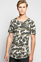 Boohoo Camo T Shirt With Distressing Beige