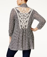 American Rag Plus Size Crochet Back Marled Cardigan Only At Macy's Classic Black