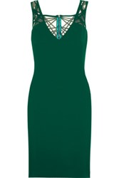 Badgley Mischka Cutout Stretch Crepe Dress Emerald