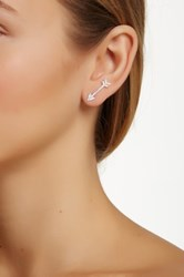 18K White Gold Plated Sterling Silver Cz Accented Arrow Earrings Metallic