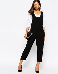 Sisley Cropped Jumpsuit With Button Detail In Black