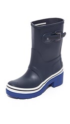 Hunter Original Buoy Stripes Short Booties Navy Deep Cobalt White