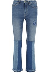 Mih Jeans M.I.H Angie Patchwork Embroidered Mid Rise Flared Mid Denim