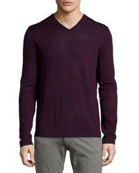 Neiman Marcus Wool V Neck Modern Fit Sweater Port