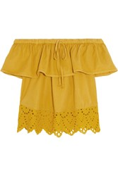 Madewell Off The Shoulder Broderie Anglaise Cotton Blend Top Mustard