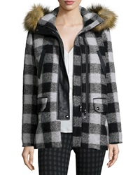 Joie Roni River Plaid Coat With Faux Fur Hood