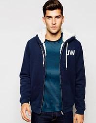 Jack Wills Hoodie With Borg Lining In Navy