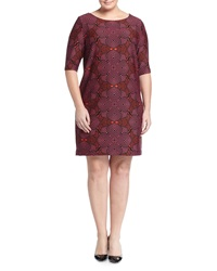 Taylor Plus Circle Pattern 3 4 Sleeve Shift Dress Crimsom Ch