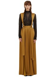 Lanvin Long Satin Brace Skirt Gold