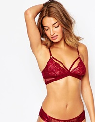 New Look Mesh Crossover Soft Cup Bra Burgundy