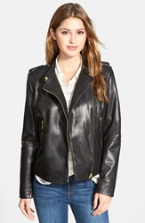 Bernardo Asymmetrical Zip Leather Moto Jacket Regular And Petite Black