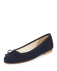 French Sole Crystal Suede Ballet Flat Pacifico Navy