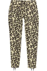 Sibling Leopard Print Lace Up Mid Rise Slim Leg Jeans Pastel Yellow