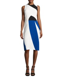 Narciso Rodriguez Colorblock Crepe Sleeveless Sheath Dress Multicolor