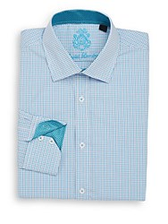 English Laundry Mini Check Cotton Dress Shirt Teal