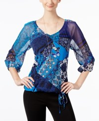 Inc International Concepts Printed Peasant Blouse Only At Macy's Butterfly