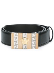 Versace 'Greca' Detail Buckle Belt Black