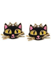 Betsey Johnson Antique Gold Tone Cat Stud Earrings