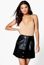 Boohoo Button Through A Line Leather Look Skirt Black