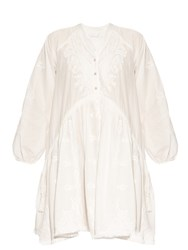 Zimmermann Lotte Embroidered Cotton Dress White