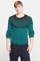 Umit Benan Fair Isle Wool Sweater Green