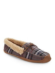 Saks Fifth Avenue Faux Shearling Lined Moccasin Slippers Grey Plaid