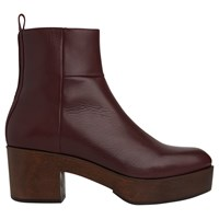 Whistles Helle Block Heeled Clog Ankle Boots Burgundy Leather