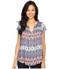 Lucky Brand Printed Smocked Short Sleeve Top Multi Women's Short Sleeve Pullover
