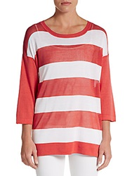 Cullen Mesh Stripe Jersey Tunic Red White